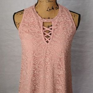 Liberty Love Tunic Top Juniors Size M Lace Lined